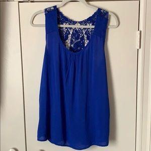 Tops - Cobalt Blue Crochet Back Top